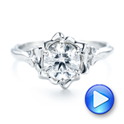 Platinum Custom Diamond Engagement Ring - Video -  102896 - Thumbnail