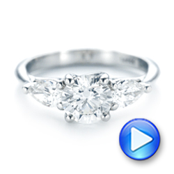 Custom Three Stone Diamond Engagement Ring - Interactive Video - 102898 - Thumbnail