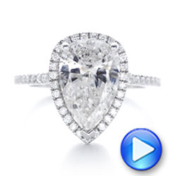 Platinum And 18K Gold Custom Two-tone Diamond Halo Engagement Ring - Video -  102901 - Thumbnail