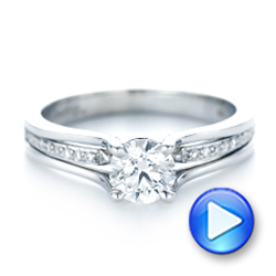 18k White Gold Custom Diamond Engagement Ring - Video -  102903 - Thumbnail