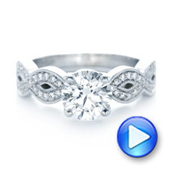 14k White Gold 14k White Gold Custom Diamond Engagement Ring - Video -  102905 - Thumbnail