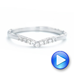 18k White Gold 18k White Gold Custom Hand Engraved Diamond Wedding Band - Video -  102908 - Thumbnail