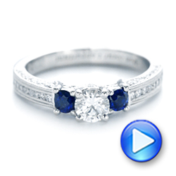 Platinum Custom Three Stone Blue Sapphire And Diamond Engagement Ring - Video -  102926 - Thumbnail