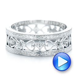 Platinum Custom Hand Engraved Wedding Band - Video -  102928 - Thumbnail