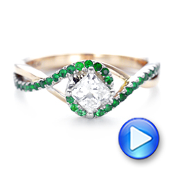 14k Rose Gold And 14K Gold Custom Two-tone Emerald And Diamond Engagement Ring - Video -  102930 - Thumbnail