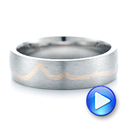 Platinum And 14k Rose Gold Platinum And 14k Rose Gold Custom Two-tone Brushed Men's Band - Video -  102931 - Thumbnail