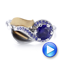 14k White Gold And 14K Gold Custom Two-tone Purple Sapphire Engagement Ring - Video -  102932 - Thumbnail