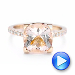 14k Rose Gold Custom Morganite And Diamond Engagement Ring - Video -  102933 - Thumbnail
