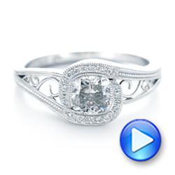 Platinum Custom Diamond Halo Engagement Ring - Interactive Video - 102936 - Thumbnail
