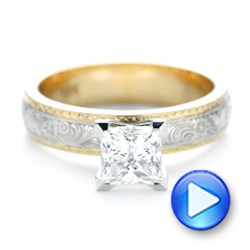 Custom Two-Tone Solitaire Diamond Engagement Ring - Interactive Video - 102937 - Thumbnail