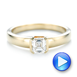 18k Yellow Gold Custom Solitaire Diamond Engagement Ring - Video -  102943 - Thumbnail