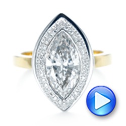 18K Gold And 18k Yellow Gold Custom Two-tone Diamond Engagement Ring - Video -  102947 - Thumbnail