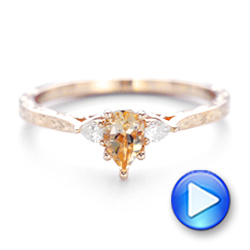 14k Rose Gold Custom Three Stone Morganite And Diamond Engagement Ring - Video -  102949 - Thumbnail