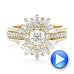 Custom Yellow Gold Diamond Jacket Wedding Band - Interactive Video - 102951 - Thumbnail