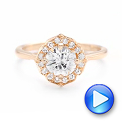 Custom Rose Gold Diamond Halo Engagement Ring - Interactive Video - 102957 - Thumbnail