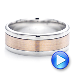 14K Gold And 14k Rose Gold Custom Two-tone Men's Wedding Band - Video -  102961 - Thumbnail