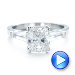 18k White Gold 18k White Gold Custom Three Stone Diamond Engagement Ring - Video -  102964 - Thumbnail