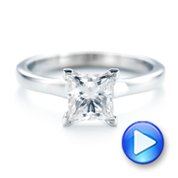 Platinum Platinum Custom Solitaire Diamond Engagement Ring - Video -  102965 - Thumbnail