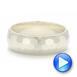 14k White Gold Custom Brushed Men's Wedding Band - Video -  102967 - Thumbnail