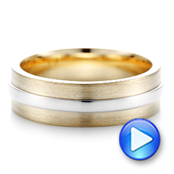 14k Yellow Gold And 14K Gold Custom Two-tone Men's Wedding Band - Video -  102970 - Thumbnail