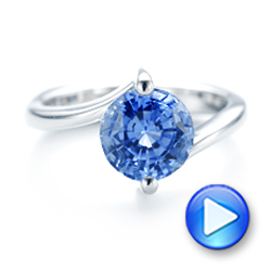Custom Solitaire Blue Sapphire Engagement Ring - Interactive Video - 102973 - Thumbnail