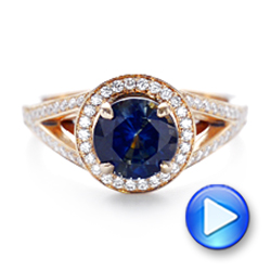 14k Rose Gold Custom Sapphire And Diamond Engagement Ring - Video -  102978 - Thumbnail