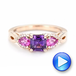 Custom Rose Gold Purple and Pink Sapphire and Diamond Engagement Ring - Interactive Video - 102984 - Thumbnail