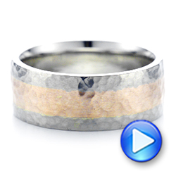 Platinum Platinum Custom Two-tone Hammered Satin Finish Wedding Ring - Video -  102986 - Thumbnail