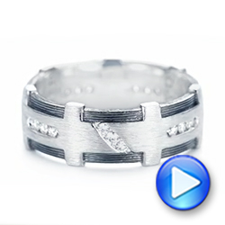 Platinum Custom Brushed Diamond Men's Band - Video -  102988 - Thumbnail