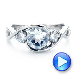 Custom Three Stone Aquamarine and Diamond Engagement Ring - Interactive Video - 102989 - Thumbnail