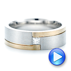 Custom Two-Tone Brushed Diamond Wedding Band - Interactive Video - 102991 - Thumbnail