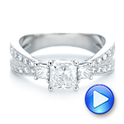 18k White Gold 18k White Gold Custom Three Stone Diamond Engagement Ring With Blue Sapphires - Video -  102992 - Thumbnail