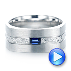 14k White Gold Custom Hand Engraved Blue Sapphire Men's Band - Video -  102998 - Thumbnail