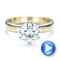 Custom Two-Tone Solitaire Diamond Engagement Ring - Interactive Video - 103001 - Thumbnail