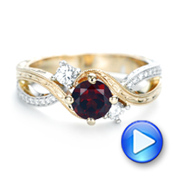 14k Yellow Gold And 14K Gold Custom Two-tone Three Stone Garnet And Diamond Engagement Ring - Video -  103007 - Thumbnail