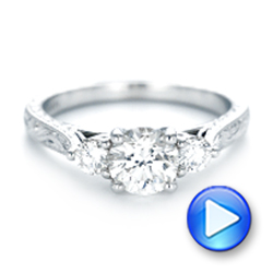 Custom Three Stone Diamond Engagement Ring - Interactive Video - 103009 - Thumbnail