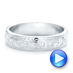 18k White Gold 18k White Gold Custom Hand Engraved Wedding Band - Video -  103011 - Thumbnail