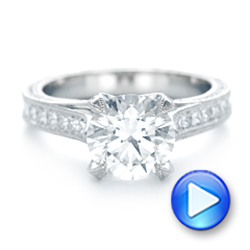 Platinum Custom Diamond Engagement Ring - Video -  103013 - Thumbnail