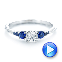 14k White Gold Custom Blue Sapphire And Diamond Engagement Ring - Video -  103015 - Thumbnail