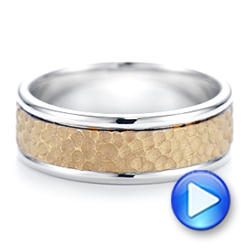 18K Gold And 18k Yellow Gold Custom Two-tone Hammered Men's Band - Video -  103016 - Thumbnail
