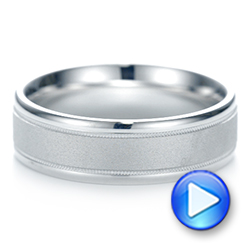 Sandblasted Men's Wedding Band - Interactive Video - 103020 - Thumbnail