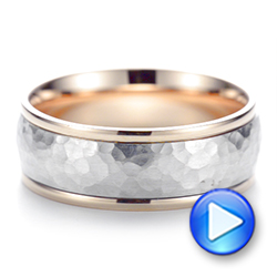 Two-Tone Hammered Men's Wedding Band - Interactive Video - 103024 - Thumbnail