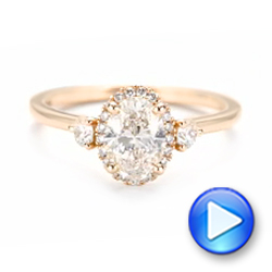 14k Rose Gold Custom Diamond Halo Engagement Ring - Video -  103025 - Thumbnail