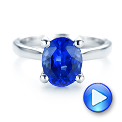 14k White Gold Custom Solitaire Tanzanite Engagement Ring - Video -  103031 - Thumbnail