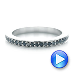 14k White Gold Custom Eternity Black Diamond Wedding Band - Video -  103034 - Thumbnail