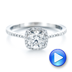Custom Diamond Halo Engagement Ring - Interactive Video - 103037 - Thumbnail