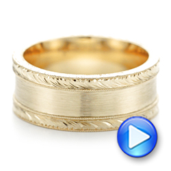 14k Yellow Gold Custom Hand Engraved Men's Band - Video -  103038 - Thumbnail