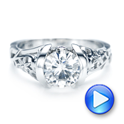 18k White Gold Custom Blue Sapphire Ruby And Diamond Engagement Ring - Video -  103040 - Thumbnail
