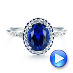 14k White Gold Custom Blue Sapphire And Diamond Halo Engagement Ring - Video -  103041 - Thumbnail