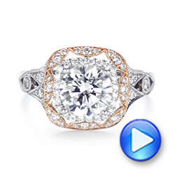 18k White Gold And 18K Gold Two-tone Halo Diamond Engagement Ring - Video -  103045 - Thumbnail